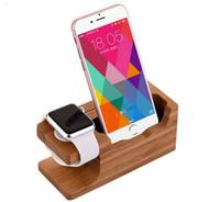 soporte de teléfono celular de madera al por mayor-Plataforma de carga DHL gratuita para Apple Watch Stand Station para Apple Watch para iPhone Soporte de soporte para teléfono celular de madera de bambú