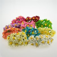 Wholesale Fake Flower Balls - Wholesale- Cheap 12pcs Paper Artificial Ball Stamen Flowers Bouquet For Wedding Decoration DIY Scrapbooking Decorative Wreath Fake Flowers
