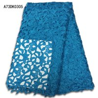Wholesale and retail Nigerian Bridal Blue Lace Fabric Newest Design Guipure Cord Lace Fabric High Quality for wedding decoration