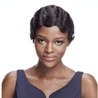 Wholesale Classic Indian Wave - Sleek Short Wavy Virgin Hair Curly Wave Pixie Wig 8.5 Inch Three Colors Available Classic Retro Wave Combined With Curly Human Hair