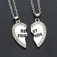 Wholesale Diamond Heart Pendant - Love Heart Pendant Necklace Fashion Two flap Alloy Diamond Best Friends Necklaces Hot Selling Good Friends Necklaces & Pendants