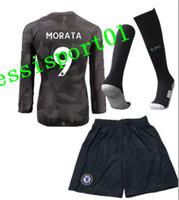 Wholesale Hot Men Sock Soccer - HOT SALE 17 18 Chelsea home soccer jersey WITH SOCKS Long sleeves kit HAZARD MORATA HAZARD KANTE WILLIAN DAVID LUIZ away football full set