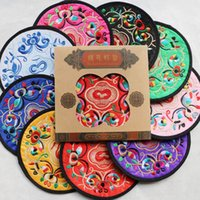 Wholesale Traditional Folk Crafts - Chinese Style Embroidery Coaster Features Souvenirs Send A Friend Gift Ideas Traditional Chinese Embroidery Tableware Pads Folk Crafts