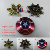 Wholesale Brass Hexagonal Bronze octagonal Captain America Fidget Spinner Anti stress Rotation Metal Decompression Novelty Toy
