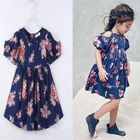 Wholesale Strapless Dress Wholesale - Girl ins flower Princess dress 2017 New Children cartoon Boat Neck Strapless sleeves vest dresses clothes 2-8 years B001