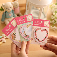 Wholesale Post Office Labels - Wholesale- 1pcs lot Sweet flower & heart Notepad memo pads sticky note label message post marker bookmark office and school supplier