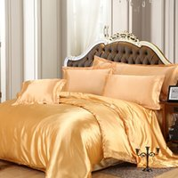 Wholesale Luxury Gold Duvet - Wholesale- Silk Satin bedding sets Luxury RUSSIA SIZE USA SIZE Gold Red silver duvet cover set purple black teal pink sheet navy blue#2