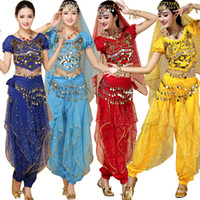Wholesale women sequin top dance - New Handmade Women Belly Dance Costumes Female Belly Dancing Girls Bollywood Indian Performance Cloth 4 pcs(top+Pants+belt+hand chain+)