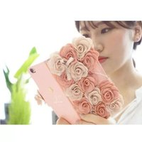Wholesale Iphone Coloured Wallet Cover - Lanyard Chain Rose Flower double colour Leather Case Flip Card Slot Wallet Cover for iphone 7 plus 6S plus 5S S5 S6 S7