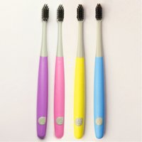 Wholesale Toothbrush Soft Wholesale - 2pcs ultra soft toothbrush travel Lover health charcoal black toothbrush bamboo,dentistry soft charcoal toothbrushes brush teeth.