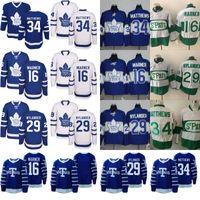 Wholesale Ice Hockey Logo - Toronto Maple Leafs Jersey Men's #16 Mitchell Marner #34 Auston Matthews #29 William Nylander 100% Stitched Embroidery Logos Hockey Jerseys