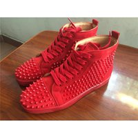 Wholesale Studded Shoes Wholesale - Top Brand Mens Casual shoes Red Bottom Wine red Suede Luxury Spring Autumn Flats Studded Spikes Sneakers High cut Dress shoes