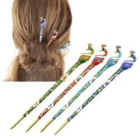 Nouveaux cheveux Bijoux Émeraude colorée vintage avec strass Peacock Hair Sticks Hairwear For Fashion Women