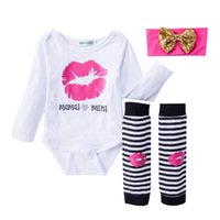 Wholesale Warm Baby Onesies - INS Infants clothing Baby girl Outfits Sweet Lips Romper onesies Long sleeve +Leg warmer +Bow Headband 3pcs set 100% Cotton Autumn Fall 2017