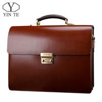 Wholesale Thicker Dress - Wholesale- YINTE Leather Men's Briefcase Leather Business Bag Men's Laptop Bag Lawyer Handbag Document Thicker Men Totes Portfolio T8191-6