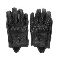 Wholesale Gloves Hole - Wholesale- Stylish Leather Motorcycle Gloves Protective Armor Short Gloves M L XL Full Finger Without Hole High Quality For Riding Sports