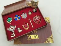 Wholesale Legend Zelda Link - Wholesale-The Legend of Zelda Triforce Hylian Shield & Master Sword Keychain necklace ornament 10pcs Set Collection