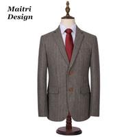 Wholesale Herringbone Wool Suit Jacket - 100% Wool Grey Herringbone Tweed Checked Suit British Style Sequin Jacket For Men Skinny Slim Fit Blazer Coat Mens Business Wear
