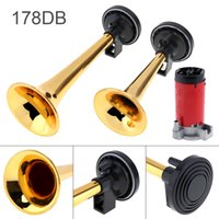 Wholesale Tone Horns Motorcycle - 12V 178dB Super Loud Dual Tone Air Horn Set Trumpet Compressor for Motorcycle Car Boat Truck AUP_430