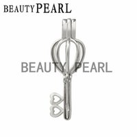 Wholesale slide mount - 5 Pieces Gift Cage 925 Sterling Silver Locket Love Wish Pearl Key Heart Pendant Mounting Cage