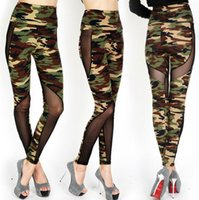 Wholesale Stretch Gauze - Wholesale- S-XL High Quality Women's Stitching Gauze Leggings Sexy Plus Size Camouflage Stretch Trouser High Waist Army Leggings Pants
