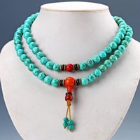 Wholesale Turquoise Rosary - Chinese Old Turquoise & Red Coral Handwork Rosary Type Necklaces D1144