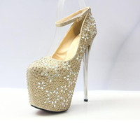 Wholesale Silver Bling Pumps - 2017 New Vogue Bling Giltter Platform 20CM Ultra High Heels Woman Shoes Nightclub Sexy Pumps Party Dress Shoes Gold Sliver