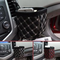 Barato Estofamento De Carro Por Atacado-Atacado- PU Leather Upholstery Car Outlet Sundries Bag Smart Phone Luva Suporte de telefone móvel Car Kit Storage Bag