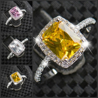 Victoria Wieck Bijoux de luxe 925 en argent sterling Multi Color Stone Pink Sapphire Diamond Diamond Simulated Wedding Women Ring Size5-11