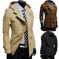 Wholesale Men Double Breasted Coat Sale - Wholesale- new arrivals hot sale autumn winter men's casual luxury fashion jacket coat solid double-breasted hooded jacket 4 colors M-XXL