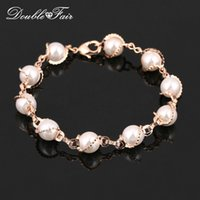 Wholesale Vintage Pearl Clasps Wholesale - Vintage Pearl Beads hand Chain Bracelets & Bangles Wholesale 18K Rose Gold Plated Fashion Brand Wedding Party Jewelry For Women DFH171
