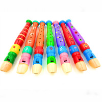 brinquedos educativos vintage venda por atacado-Desenho de flauta de madeira Clarinete de madeira em crianças 6 pequeno buraco piccolo Instrumento de sopro de bebês e crianças pequenas brinquedos educativos
