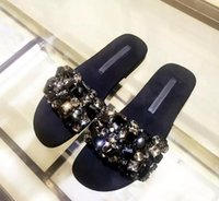 Moda Mulheres Sapatos lisos Rhinestone Beading Slides Crystal Sandálias embellished Sexy Black Beach Shoes Woman Real Photo flip flop
