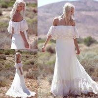 Wholesale Long Sleeve Wedding Dresses Online - Online Summer Beach Bohemian Lace Wedding Dresses 2017 Vestidos De Noiva Off the Shoulder Chiffon Long Country Wedding Gowns BA4738