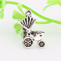 Wholesale Antique Carriage - Hot ! 200pcs Antique silver Zinc Alloy Single-sided Baby carriages Charm Pendants DIY Jewelry 13x19mm A-012