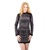 Wholesale Sexy Black Lace Turtleneck Dress - Fashion Sexy Geometric Pattern Rhinestone Turtleneck long-sleeved bodycon tight dress party dress ZC004