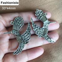 Wholesale Metal Charm Birds - 30 pcs lot Retro Metal Hummingbird Charms 33*44mm Antique Silver Flying Bird Pendant Jewelry Supplies Bird Charms For Crafts DIY