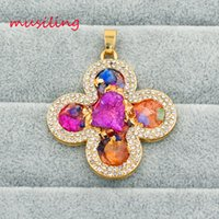 Wholesale Mixed Geometric Necklace - Necklaces & Pendants Mixed Color Crystal Diamond Druzy Pendant Necklace Gold Plated Geometric Pendants Fashion Women Mens Jewelry