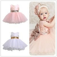 Wholesale White Cotton Evening Dress - high quality Princess Kids dress Baby Girl Sleeveless Evening Tutu Tule Dress First Christening clothes formal wedding Party wear clothes