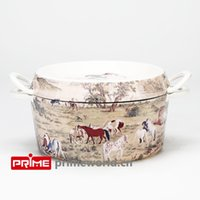 Wholesale Prime Enameled Cast Iron Covered Dutch Oven Casserole White Color Painting Enamel Cookware Round Doufeu one hundred horses right