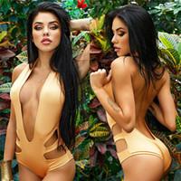 Wholesale Brazilian Bathing Suits For Women - Sexy Hollow Out 2016 Women Brazilian Bandage One Piece Swimsuit Solid Color Bathing Suit swimming suit for women Padded Swimwear