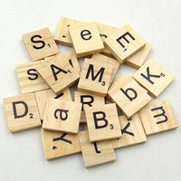 Wholesale 100 Wooden English Letters Alphabet Scrabble Numbers DIY Crafts Children Kids Educational Toy Gift