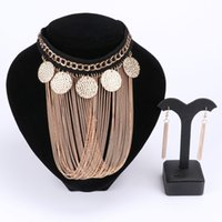 Wholesale Dress China Girls - Fashion Tassel Coin Pendants Necklaces Earring Chokers Wedding Statement Maxi Bridal Link Party Dress Accessories Jewelry Sets