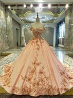 Wholesale Beaded Ball Gown Prom Dresses - Real Dresses Champagne Gold Ball Gown Prom Dresses 2017 Sweetheart Beaded Gold Lace Satin Skirt Lace-Up Back Girls Prom Gowns Flowers Dresse