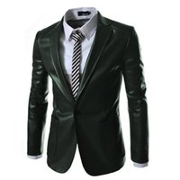 Wholesale Korean Fashion Blazer Men - Autumn and winter Korean men's new men's fashion casual Slim solid color fashion collar collar leather suit men's clothing jacket tide
