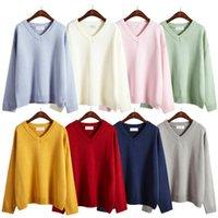 Wholesale Korean School Sweaters - Wholesale- Pullover Korean V-neck Kawaii 2016 Autumn Winter Warm Students School Uniforms Solid Hedging Women Sweaters Bottoming Harajuku