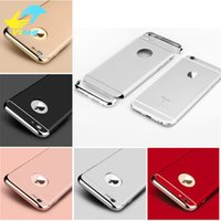 Wholesale Hard Cover For Mobile Phone - Luxury 3 In 1 Electroplating Plastic Hard Back Case For Iphone 7 7 Plus samsung s7 s8 s8 plus All Around Protect Cover Mobile Phone Cases