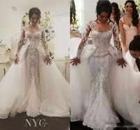 Wholesale Floral Skirt Models - 2017 Detachable Skirt Long Sleeve Mermaid Wedding Dresses Luxury Beaded Amazing Embroidery Detail Dubai Arabic Wedding Gown Steven Khalil