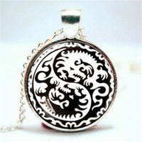 Wholesale Yin Yang Pendant Wholesalers - 10pcs lot Yin and Yang Dragon Pendant, Jewelry, Geekery, Dragon heart Necklace Glass Photo Cabochon Necklace