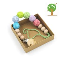 Wholesale Elephant Crochet - Wholesale-2016 new Pastel color crochet beads Baby Pacifier Clip Dummy Holder cotton Natural wooden BEECH beads elephant teether NT153